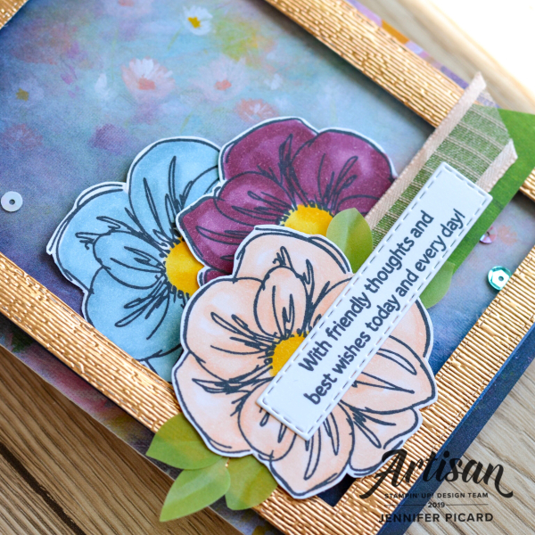 Artisan July Blog hop Perennial Essence Suite Card close up